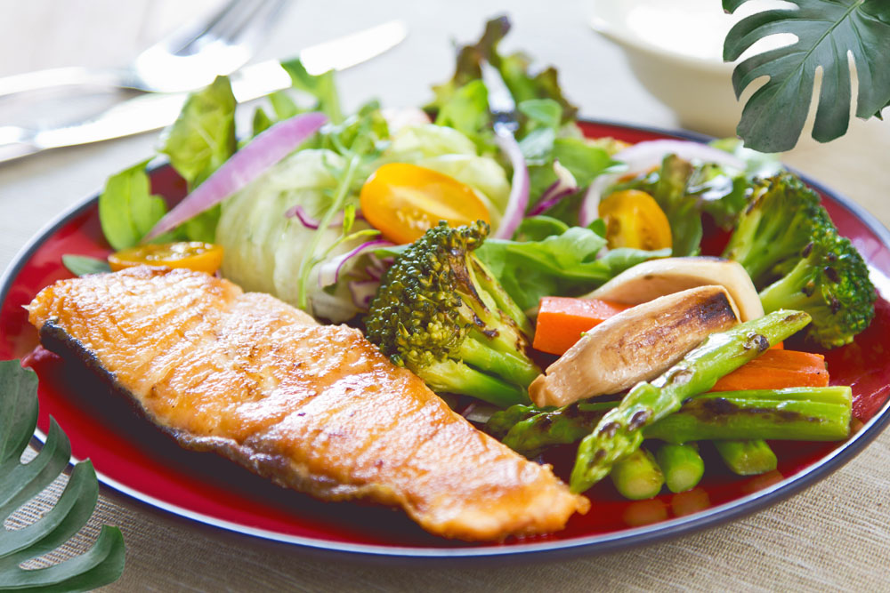 SHEET-PAN TERIYAKI SALMON WITH BROCCOLI AND ASPARAGUS